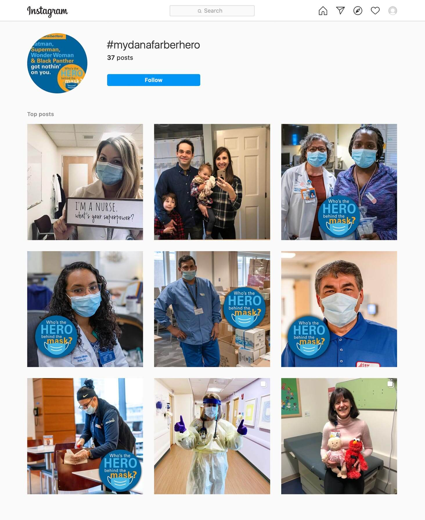 Dana-Farber Cancer Institute. Hero behind the mask.