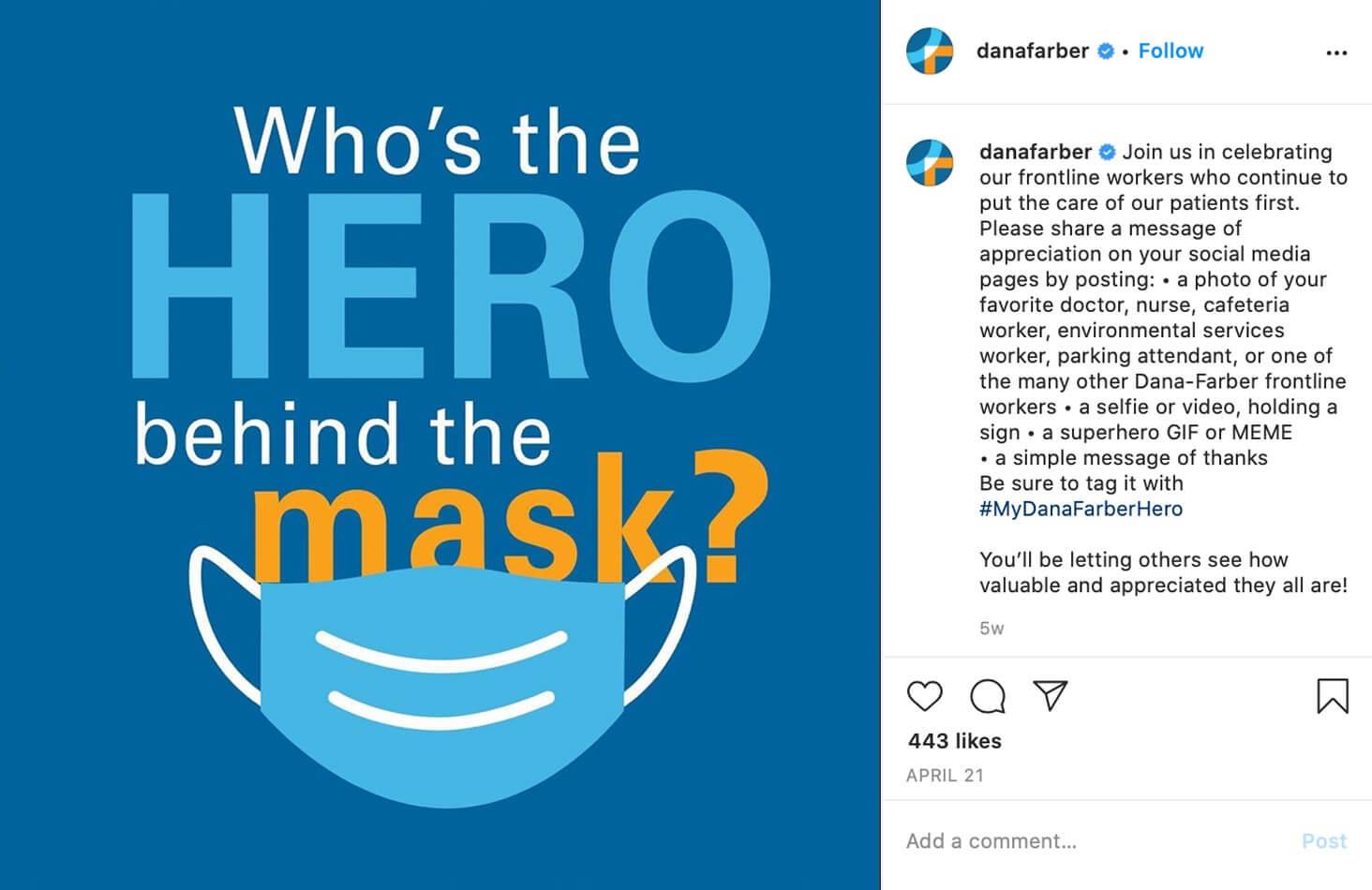 Dana-Farber Cancer Institute. Hero behind the mask