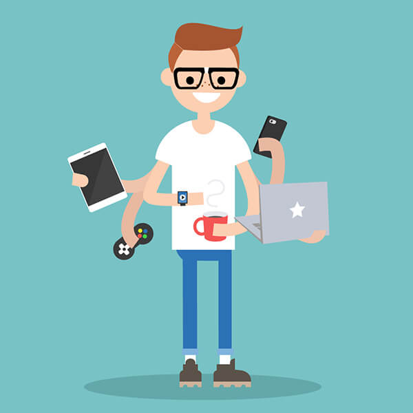 omnichannel guy holding multiple devices
