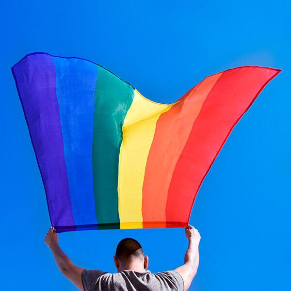 Man holding gay pride flag